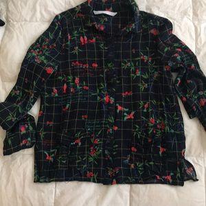 Zara button down floral shirt